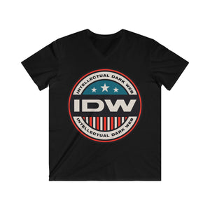 Men's Fitted V-Neck Short Sleeve Tee - IDW Badge - Color - Red Border