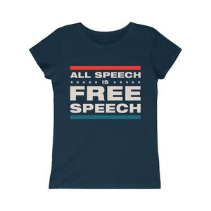 Girls Princess Tee - All Speech Is Free Speech