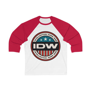Unisex 3/4 Sleeve Baseball Tee - IDW Badge - Color - Red Border