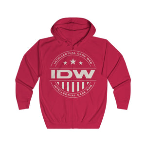 Unisex Full Zip Hoodie - IDW Badge - Grey