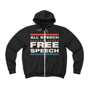 Unisex Sponge Fleece Full-Zip Hoodie - All Speech Is Free Speech