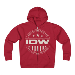 Unisex Heavyweight Fleece Zip Hoodie - IDW Badge - Grey