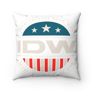 Spun Polyester Square Pillow - IDW Badge - Color - White Border