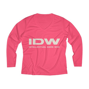 Women's Long Sleeve Performance V-neck Tee - IDW Spelled Out