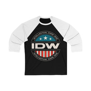 Unisex 3/4 Sleeve Baseball Tee - IDW Badge - Color - White Border
