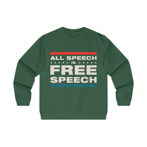 Men's Midweight Crewneck Sweatshirt - All Speech Is Free Speech