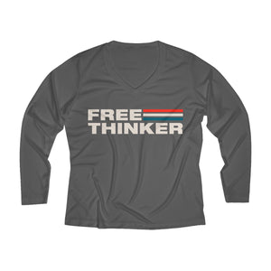 Women's Long Sleeve Performance V-neck Tee - Free Thinker