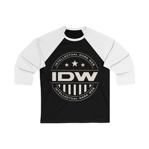 Unisex 3/4 Sleeve Baseball Tee - IDW Badge - Grey