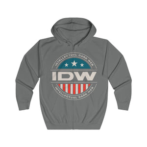 Unisex Full Zip Hoodie - IDW Badge - Color - White Border