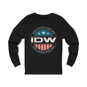 Unisex Jersey Long Sleeve Tee - IDW Badge - Color - White Border