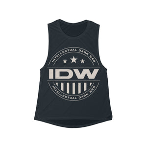 Women's Flowy Scoop Muscle Tank - IDW Badge - Grey