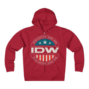 Unisex Heavyweight Fleece Zip Hoodie - IDW Badge - Color - White Border