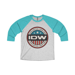 Unisex Tri-Blend 3/4 Raglan Tee - IDW Badge - Color - Red Border
