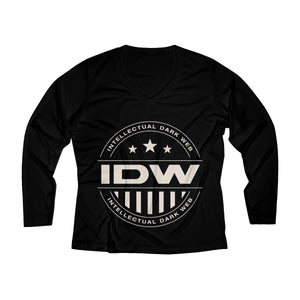 Women's Long Sleeve Performance V-neck Tee - IDW Badge - Grey