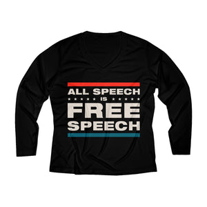 Women's Long Sleeve Performance V-neck Tee - All Speech Is Free Speech
