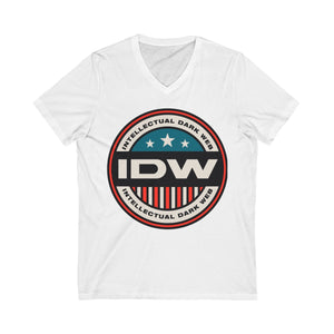 Unisex Jersey Short Sleeve V-Neck Tee - Color IDW Badge - Red Border