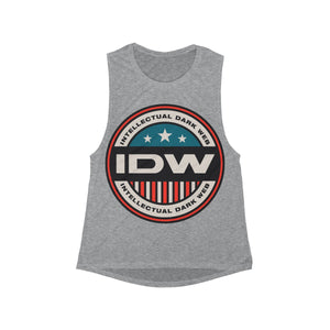 Women's Flowy Scoop Muscle Tank - IDW Badge - Color - Red Border