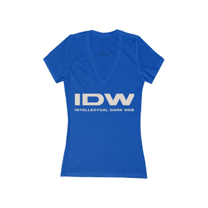 Women's Jersey Short Sleeve Deep V-Neck Tee - IDW Spelled Out