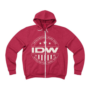 Unisex Sponge Fleece Full-Zip Hoodie - IDW Badge - Grey