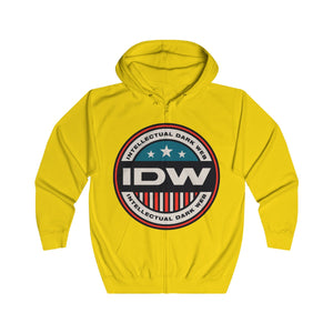 Unisex Full Zip Hoodie - IDW Badge - Color - Red Border
