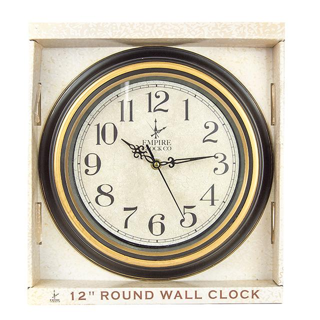 "Empire Clock Co 12"" Round Wall Clock - BargainJunkie"
