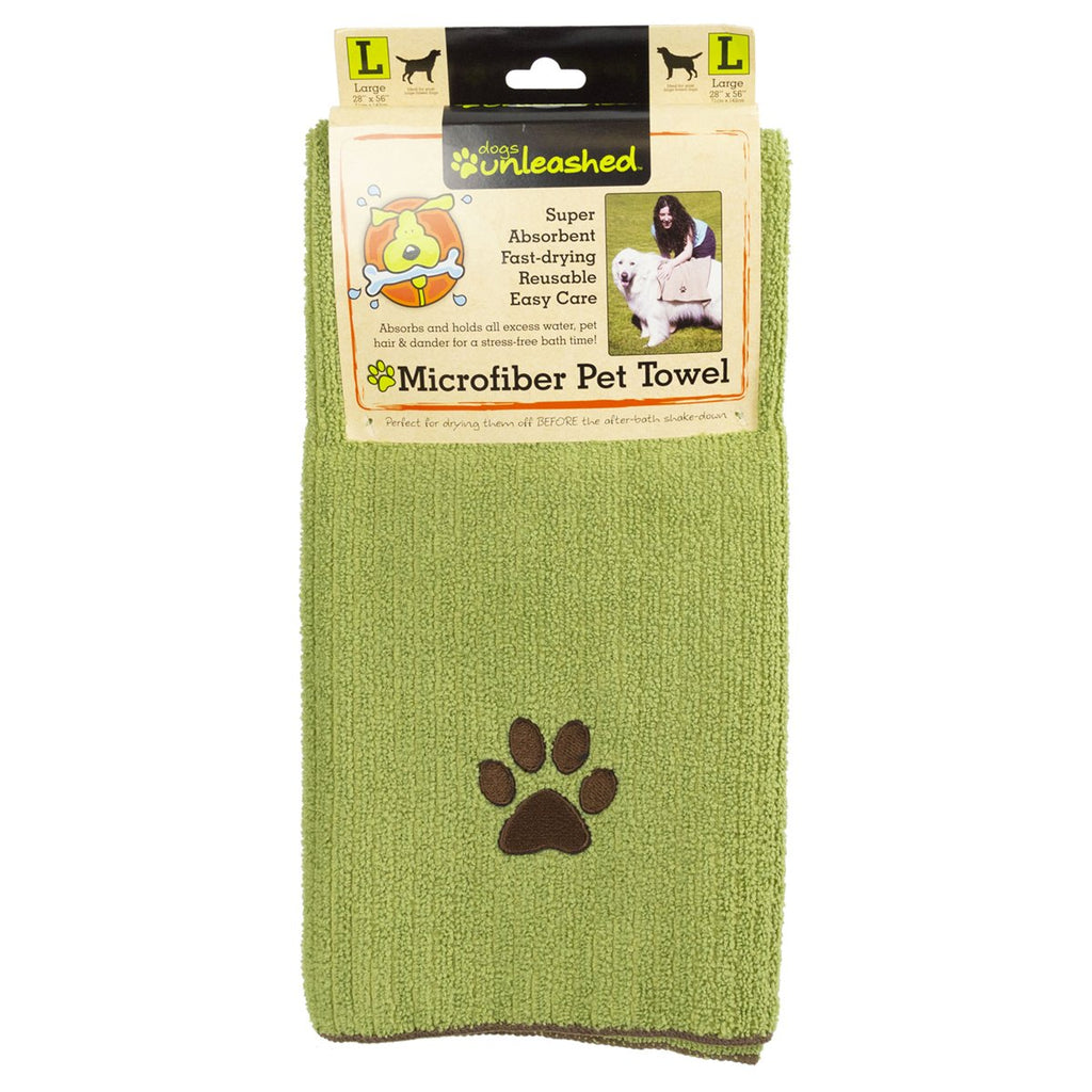 Dogs Unleashed Large Microfiber Pet Towel, Green - BargainJunkie