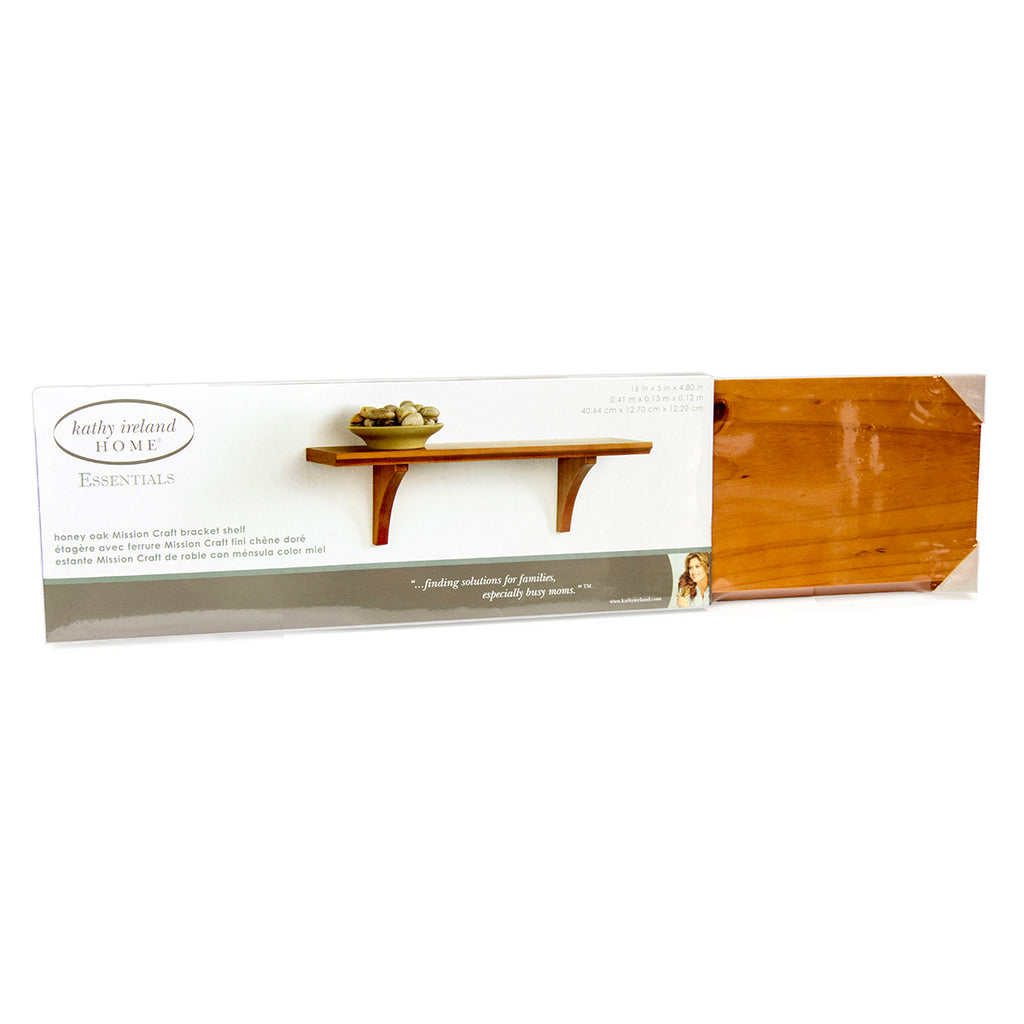 "Kathy Ireland 16"" Mission Bracket Wall Shelf, Honey Oak"