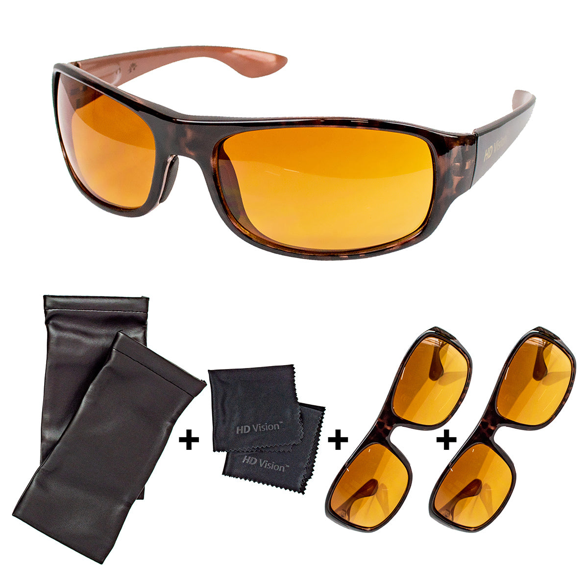 Image of 2 Pairs - High Definition Sunglasses with Cleaning Cloth and Sleeve