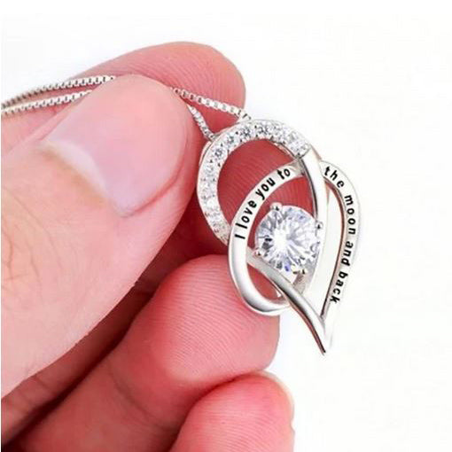 "18K White Gold Swarovski Crystal ""I Love You To The Moon and Back"" Necklace"