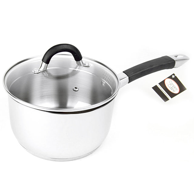 Complete Cuisine 2.11 QT Stainless Steel Saucepan with Glass Lid