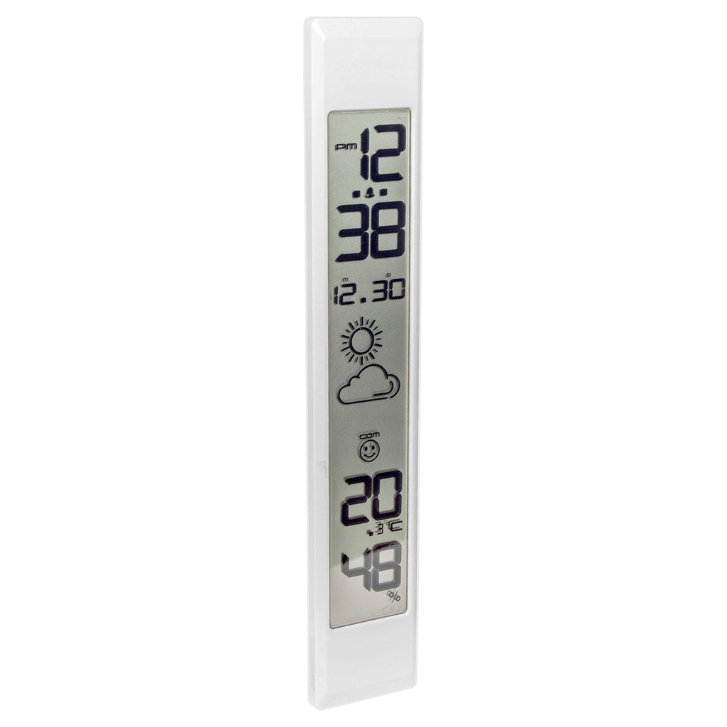 LaCrosse Technology Vertical Digital Clock with Temperature and Date - White