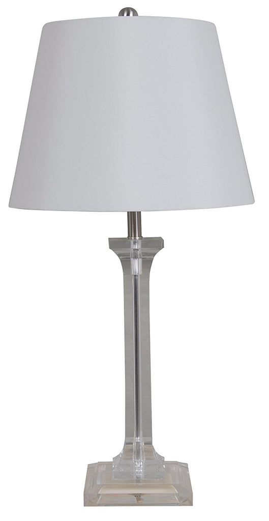 Catalina 19199-000 Dimmable 26-Inch Clear Acrylic Table Lamp with a White Faux Silk Shade