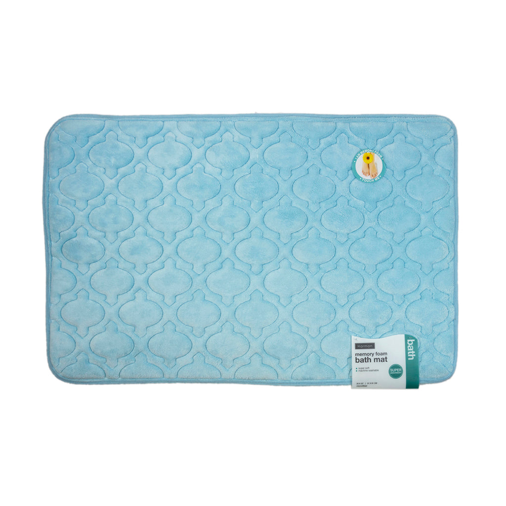"Harman Super Soft 20"" x 32"" Memory Foam Bath Mat, Aqua"