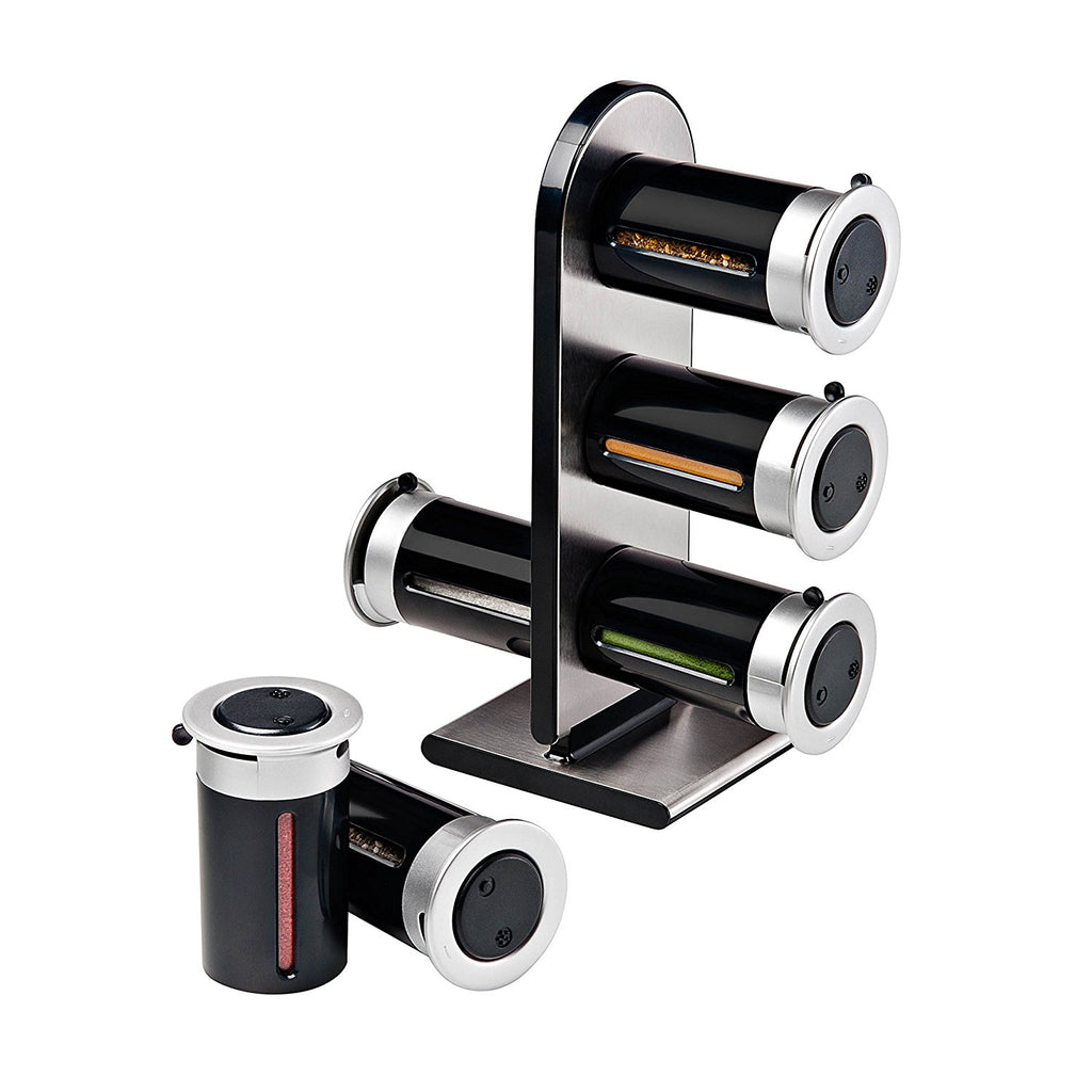 Zevro Zero Gravity Countertop Magnetic Spice Rack with Canister, Black/Silver - Set of 6