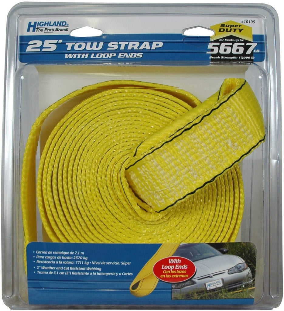 Highland 25' 5667 lb Tow Strap with Loop Ends - BargainJunkie