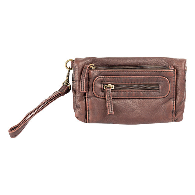 Faded Glory Washed Pebble Deluxe Wristlet Clutch, Brown