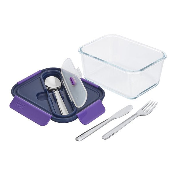 Image of Built New York Gourmet Glass Salad Bento 45 oz with Stainless Steel Utensils