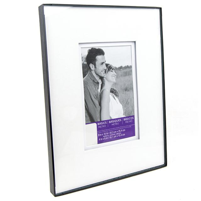 8x10 Metal Frame Shadow Mat Frame with 4x6 Opening - BargainJunkie