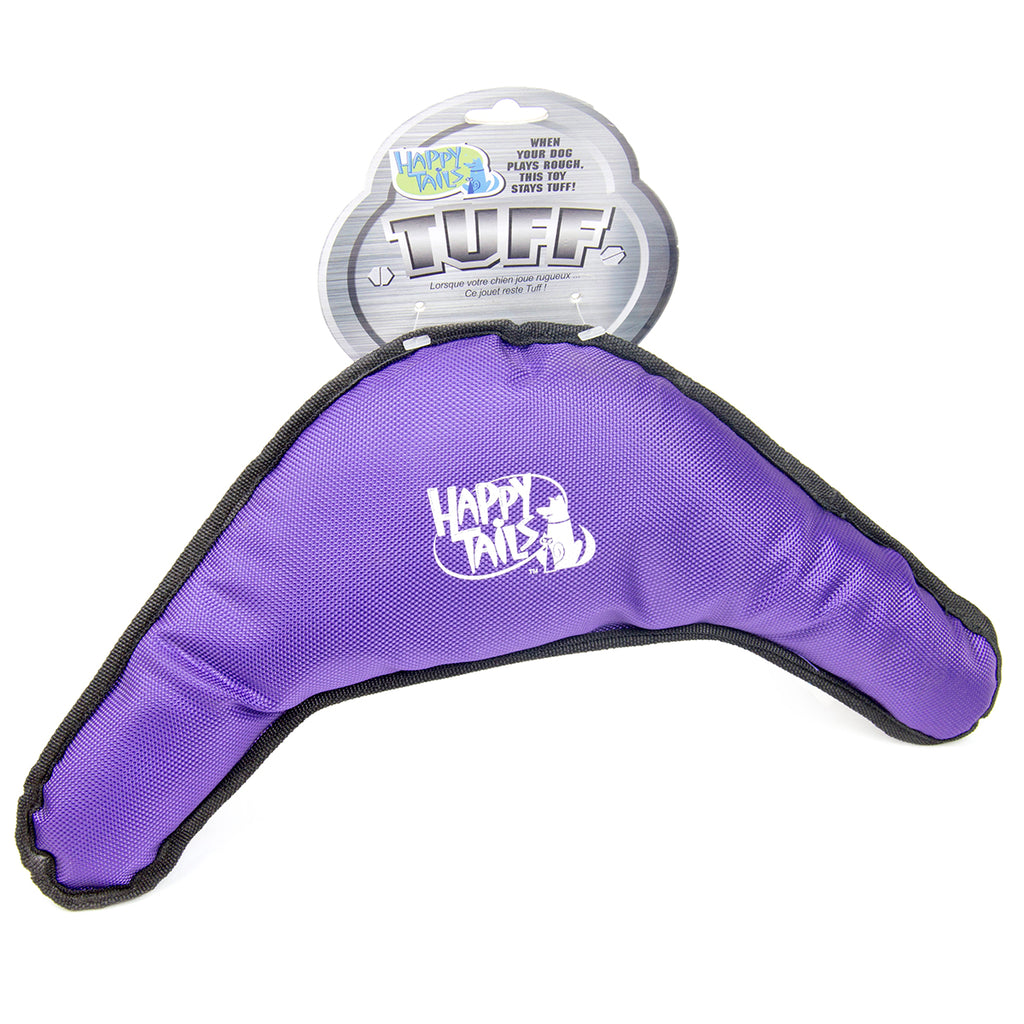 Happy Tails Tuff Dog Toy Purple Boomerang