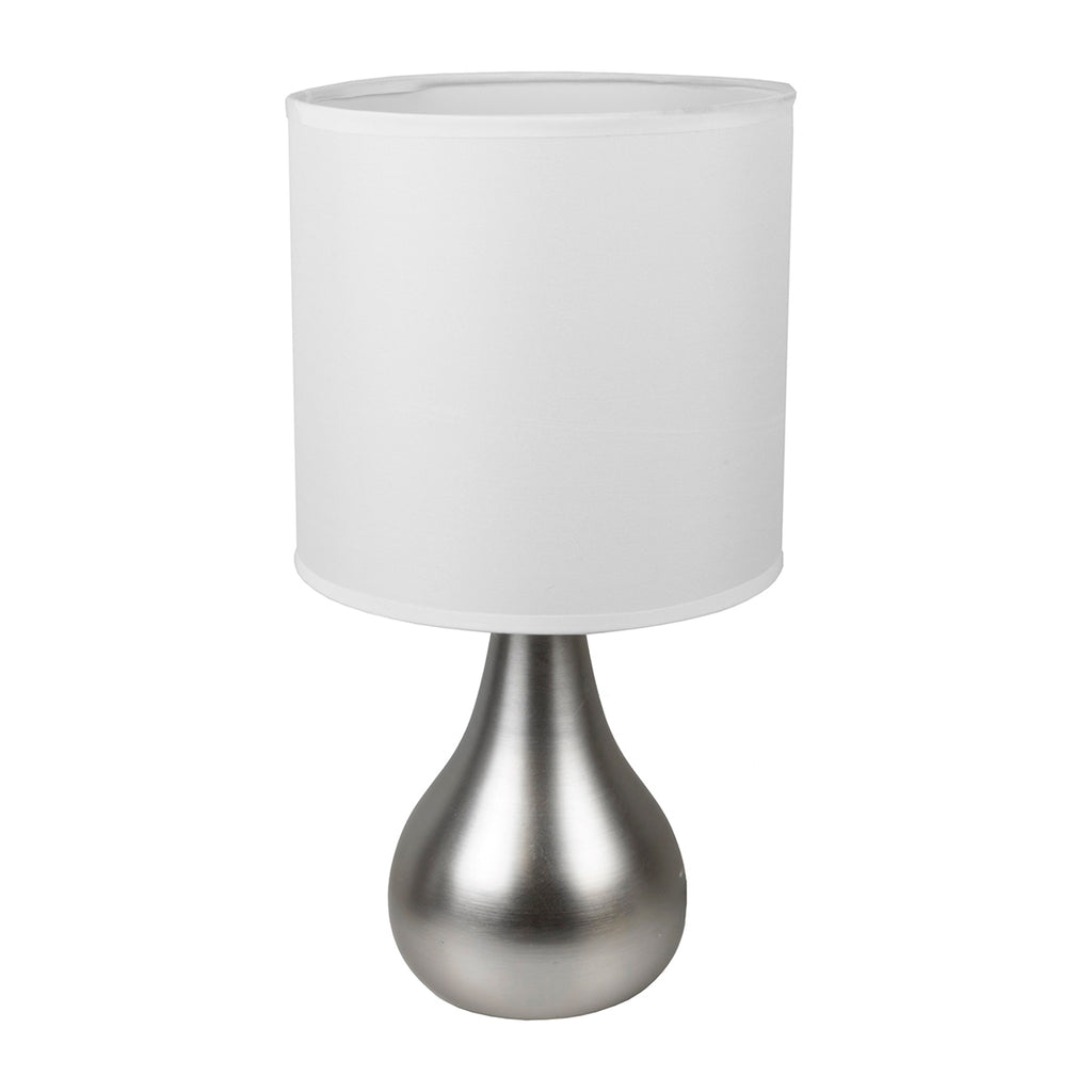 "Intellibrands 14"" Teardrop Style Table Lamp & Shade, Matte Silver"
