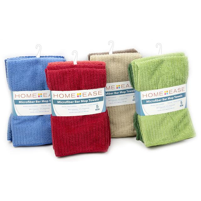 Home Ease 5pc.Microfiber Bar Mop Towels: Lint-Free, Assorted Colors - BargainJunkie