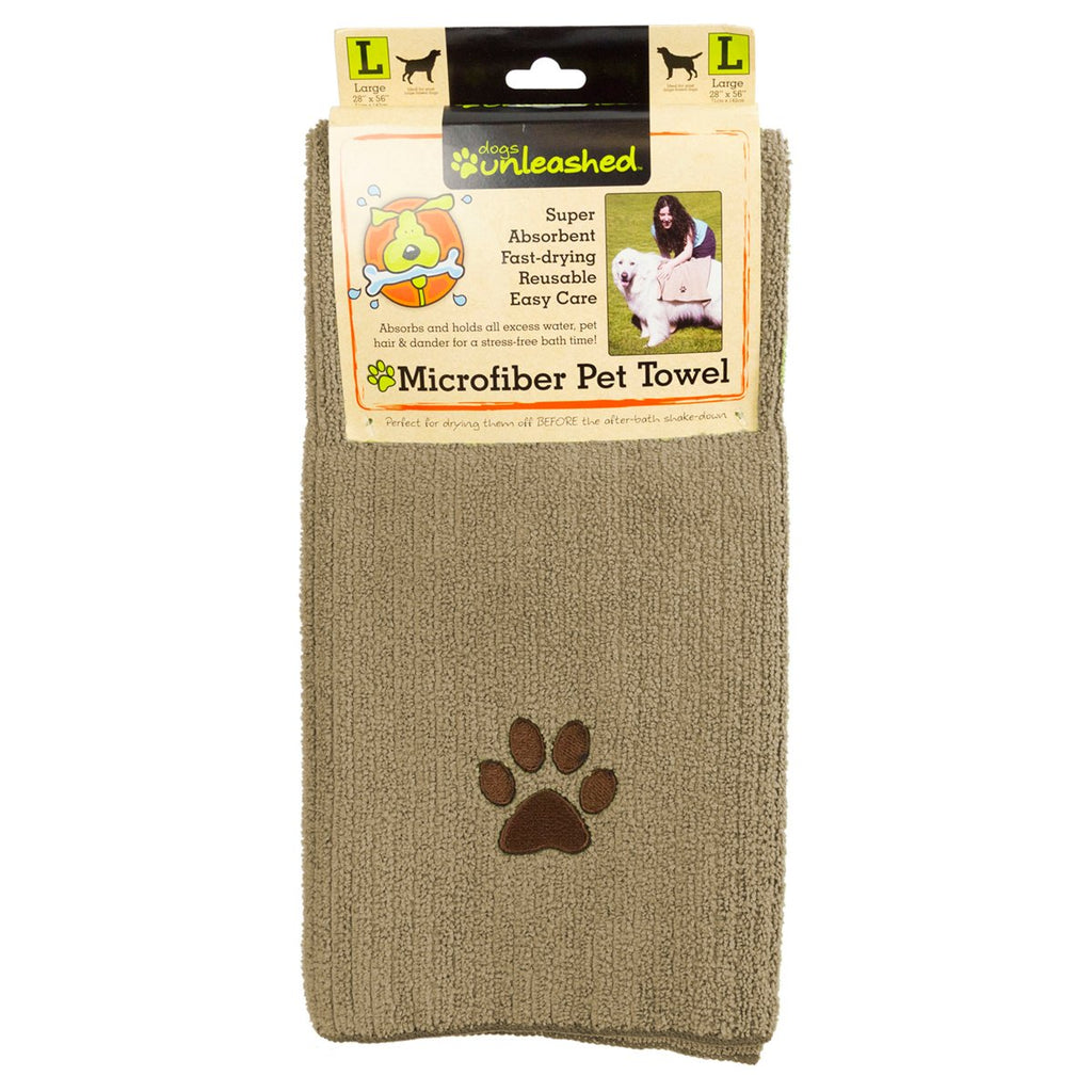 Dogs Unleashed Large Microfiber Pet Towel, Beige - BargainJunkie