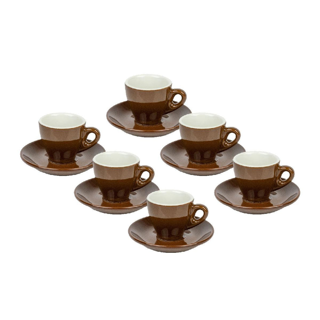 Sara Moka Set of 6 Brown Espresso Cups with Saucers - BargainJunkie