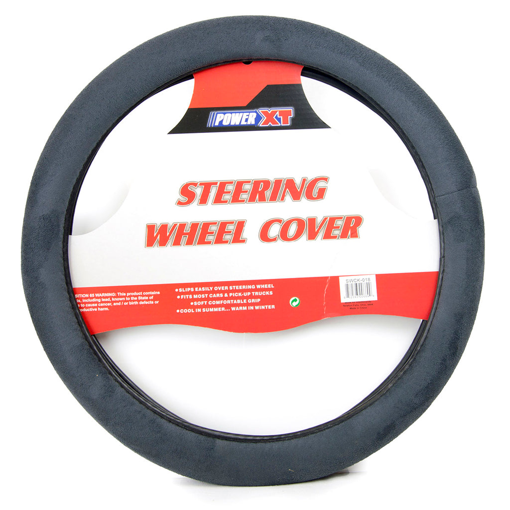 PowerXT Steering Wheel Cover, Grey Faux Suede