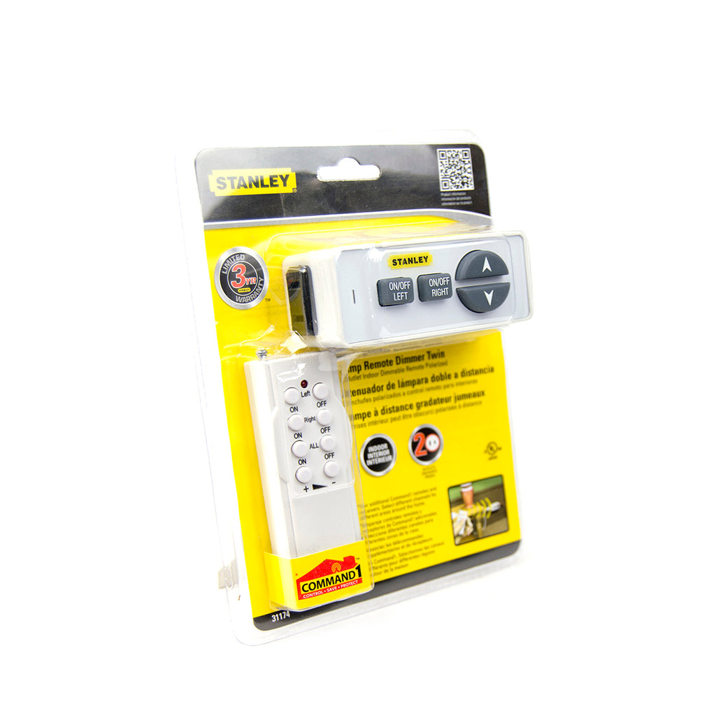 Stanley Lamp Remote Dimmer Twin, Polarized 2-Outlet Indoor Wireless Dimming Remote Control 31174