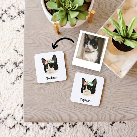Custom Cat Coaster Set