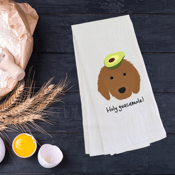 Goldendoodle with Avocado Tea Towel