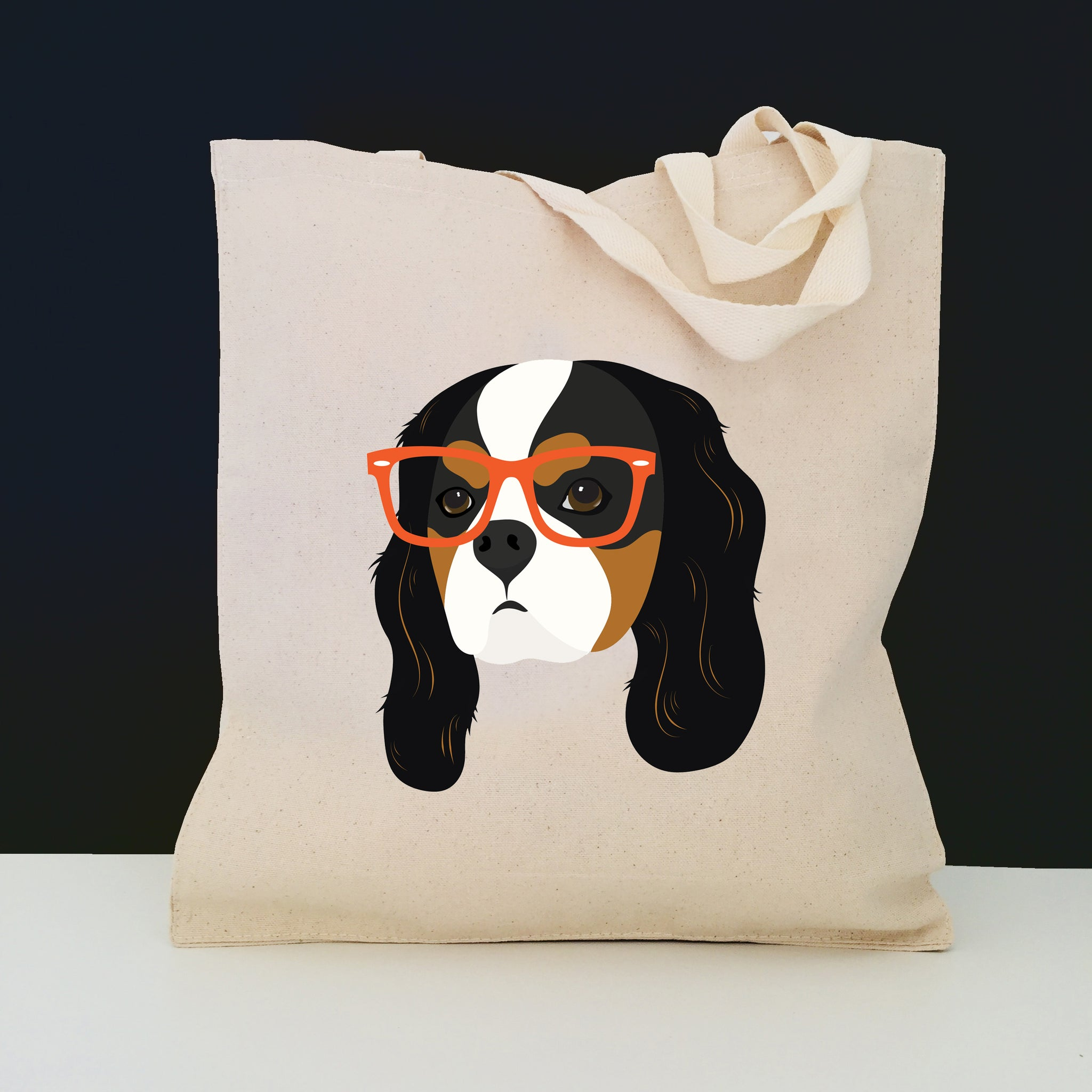 Cavalier King with Glasses Tote Bag