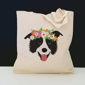 Border Collie with Flower Crown Tote Bag