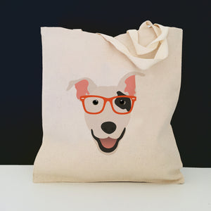 Bull Terrier with Glasses Tote Bag